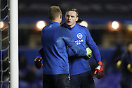 Brighton & Hove Albion goalkeeper Casper Ankergren (16) hugs Brighton & Hove Albion goalkeeper David Stockdale (13) during the EFL Sky Bet Championship match between Birmingham City and Brighton and Hove Albion at St Andrews, Birmingham, England on 17 December 2016.