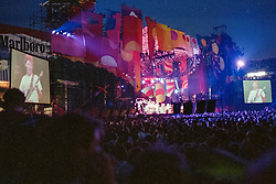 The Full Set Design in Daylight by Candace Brightman, GD Lighting. Set Created and Painted by Jan Sawka. The Grateful Dead at Foxboro Stadium 2 July 1989. 25th Anniversary Tour.