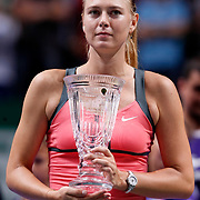 Russian Maria Sharapova holds her trophy after losing the final match against Serena Williams of the US at the WTA Championships tennis tournament in Istanbul, Turkey, 28 October 2012. Photo by Aykut AKICI/TURKPIX