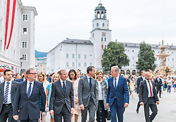 28.07.2016, Residenzplatz, Salzburg, AUT, Salzburger Festspiele, Eroeffnungsakt, im Bild zweiter Nationalratspraesident Karlheinz Kopf (OeVP), Salzburgs Landeshauptmann Wilfried Haslauer (OeVP), Bundeskanzler Christian Kern (SPOe), Vizekanzler Reinhold Mitterlehner (OeVP) // Second National Council President Karlheinz Kopf (OeVP), Salzburg Governor Wilfried Haslauer (OeVP), chancellor Christian Kern (SPOe), Vice Chancellor Reinhold Mitterlehner (OeVP) during the Opening Ceremony of the Salzburg Festival, it takes place from 22 July to 31 August 2016, at the Residenzplatz in Salzburg, Austria on 2016/07/28. EXPA Pictures © 2016, PhotoCredit: EXPA/ JFK