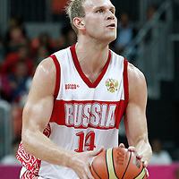 04 August 2012: Russia Anton Ponkrashov eyes the basket during 77-74 Team Russia victory over Team Spain, during the men's basketball preliminary, at the Basketball Arena, in London, Great Britain.