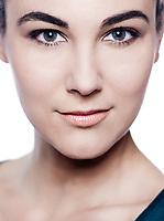 beautiful caucasian brunette woman portrait studio white background