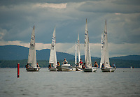 Catherine McLaughlin leads the LWSA (Lake Winnipesaukee Sailing Association) back into Smith Cove after a morning of sailing lessons on Thurdsay.  (Karen Bobotas/for the Laconia Daily Sun)