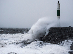 © Licensed to London News Pictures. 27/04/2019. Aberystwyth, UK. Storm Hannah, the latest named storm of the 2019 season, batters Aberystwyth on the west coast of Wales with winds gusting up to 70mph. The Met Office has issued a yellow warning for strong winds covering much of the south of the UK  until mid afternoon today,  with a risk of damage to property and injuries.<br /> photo credit: Keith Morris/LNP