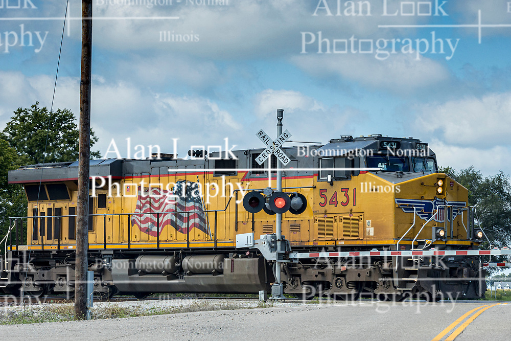 Union Pacific Engine 5431 crossing US 136 at McLean IL.