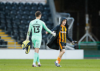 Hull City's Keane Lewis-Potter and Oxford United's Jack Stevens shake hands at the end of the match<br /> <br /> Photographer Lee Parker/CameraSport<br /> <br /> The EFL Sky Bet League One - Hull City v Oxford United - Saturday 13th March 2021 - KCOM Stadium - Kingston upon Hull<br /> <br /> World Copyright © 2021 CameraSport. All rights reserved. 43 Linden Ave. Countesthorpe. Leicester. England. LE8 5PG - Tel: +44 (0) 116 277 4147 - admin@camerasport.com - www.camerasport.com