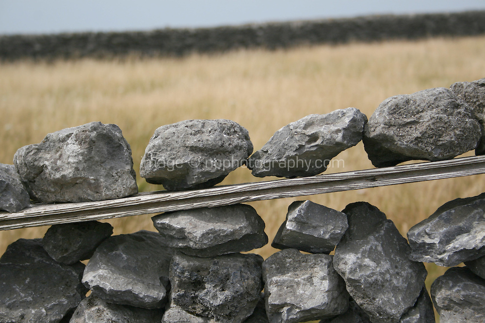 makeshift stone wall on Inis Oirr the Aran Islands Galway Ireland