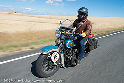 American Iron Magazine publisher Buzz Kanter riding his 1936 Harley-Davidson VLH during Stage 14 - (284 miles) of the Motorcycle Cannonball Cross-Country Endurance Run, which on this day ran from Meridian to Lewiston, Idaho, USA. Friday, September 19, 2014.  Photography ©2014 Michael Lichter.