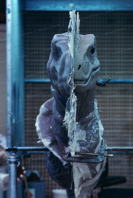 At Stan Winston Studios outside L.A. in Van Nuys, CA., the dinosaurs for Steven Spielberg's action epic, Jurassic Park are being created.  Stan is one of Hollywoods most innovative character creators.