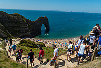 Four people seriously injured after jumping from Durdle Door, air ambulances were called to the scene. This is in light of tourists continuing to ignore social distancing rules on beaches across the country.Photo by Mark Anton Smith
