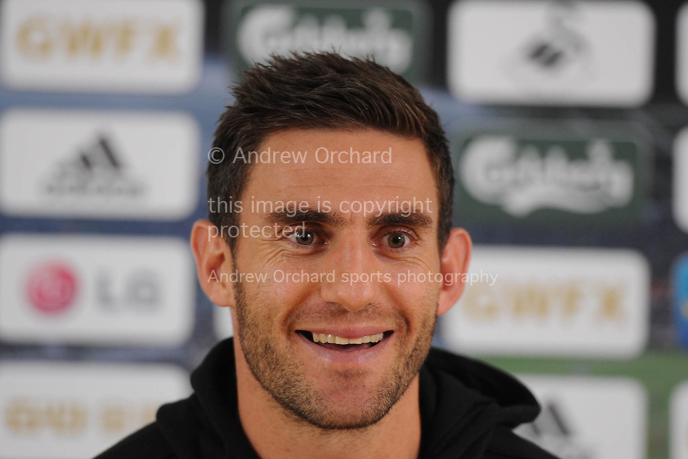Angel Rangel speaking at the Swansea city pre-match press conference, looking ahead to this Sunday's Barclays premier league match at Stoke city in Swansea, South Wales on Friday 17th Oct 2014.<br /> pic by Phil Rees, Andrew Orchard sports photography.