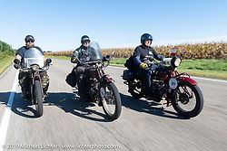 Clint Funderburg, Rich Rau and Bartek Mizerski riding in the Motorcycle Cannonball coast to coast vintage run. Stage 5 (229 miles) from Bowling Green, OH to Bourbonnais, IL. Wednesday September 12, 2018. Photography ©2018 Michael Lichter.