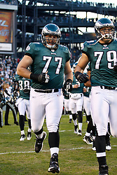 Philadelphia Eagles guard Mike McGlynn #77 enters the field before the NFL Game between the Indianapolis Colts and the Philadelphia Eagles. The Eagles won 26-24 at Lincoln Financial Field in Philadelphia, Pennsylvania on Sunday November 7th 2010. (Photo By Brian Garfinkel)
