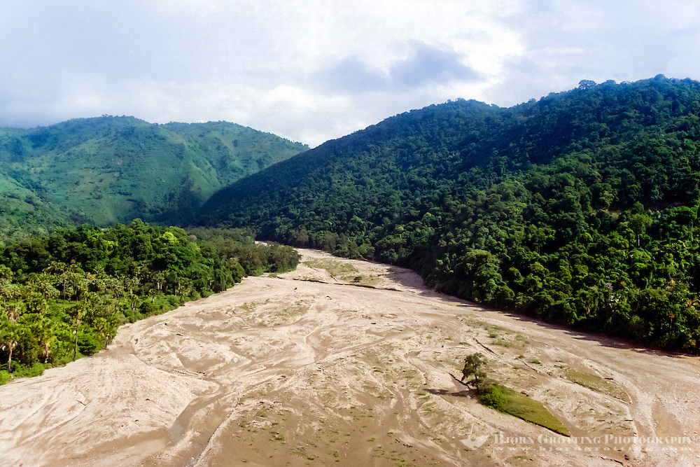 East Nusa Tenggara, West Timor. A dry river on the south coast of Timor. Rain only falls here in the wet season, December to March. This photo is taken in May (from helicopter).