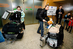 Slovenian biathlon athletes Andreja Mali and  Teja Gregorin at arrival to Airport Joze Pucnik from Vancouver after Winter Olympic games 2010, on February 26, 2010 in Brnik, Slovenia. (Photo by Vid Ponikvar / Sportida)