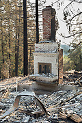 Fireplace, mantle and chimney.  Fountaingrove neighborhood of Santa Rosa, CA on October 12, 2017.