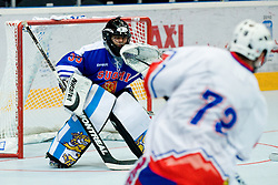 Karhu Petri of Finland tries to save shot from Matevz Erman, 73, of Slovenia at IIHF In-Line Hockey World Championships Top Division match for 5th place between National teams of Slovenia and Finland on July 3, 2010, in Karlstad, Sweden. (Photo by Matic Klansek Velej / Sportida)