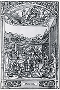 Plate of 1531 illustrating the planet Saturn and those under its influence.