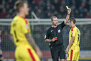 Lewis Buxton (Rotherham United) receives a yellow card during the Sky Bet Championship match between Huddersfield Town and Rotherham United at the John Smiths Stadium, Huddersfield, England on 15 December 2015. Photo by Mark P Doherty.