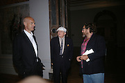 Andy Hall, David Hockney and Julian Schnabel, Georg Baselitz, Royal Academy. 18 September 2007. -DO NOT ARCHIVE-© Copyright Photograph by Dafydd Jones. 248 Clapham Rd. London SW9 0PZ. Tel 0207 820 0771. www.dafjones.com.