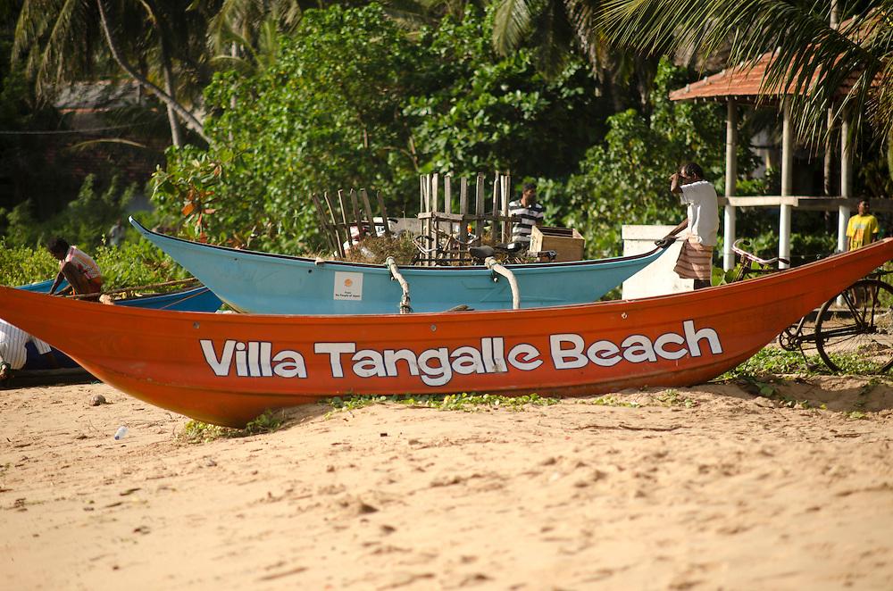 Boats on Tangalle beach, Sri Lanka