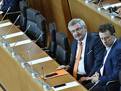 July 28, 2017 - Namur, BELGIUM - Walloon Minister of Agriculture, Nature, Rurality, Tourism and Patrimony Rene Collin and Walloon Minister of Environment, Ecological Transition, Spatial Planning, Public Works, Economic Zones, Road Safety, Transport, Mobility and Animal Welfare Carlo Di Antonio pictured at a plenary session to examine the constructive vote of no confidence to the PS-cdH majority to install a new majority MR-cdH at the Walloon Parliament in Namur, Wednesday 28 June 2017...BELGA PHOTO BENOIT DOPPAGNE (Credit Image: © Benoit Doppagne/Belga via ZUMA Press)