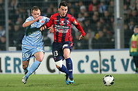 FOOTBALL - FRENCH CHAMPIONSHIP 2011/2012 - CLERMONT FA v STADE DE REIMS  - 28/11/2011 - PHOTO EDDY LEMAISTRE / DPPI - CEDRIC BOKHORNI  (CLERMONT) AND CLEMENT TAINMONT  (REIMS)