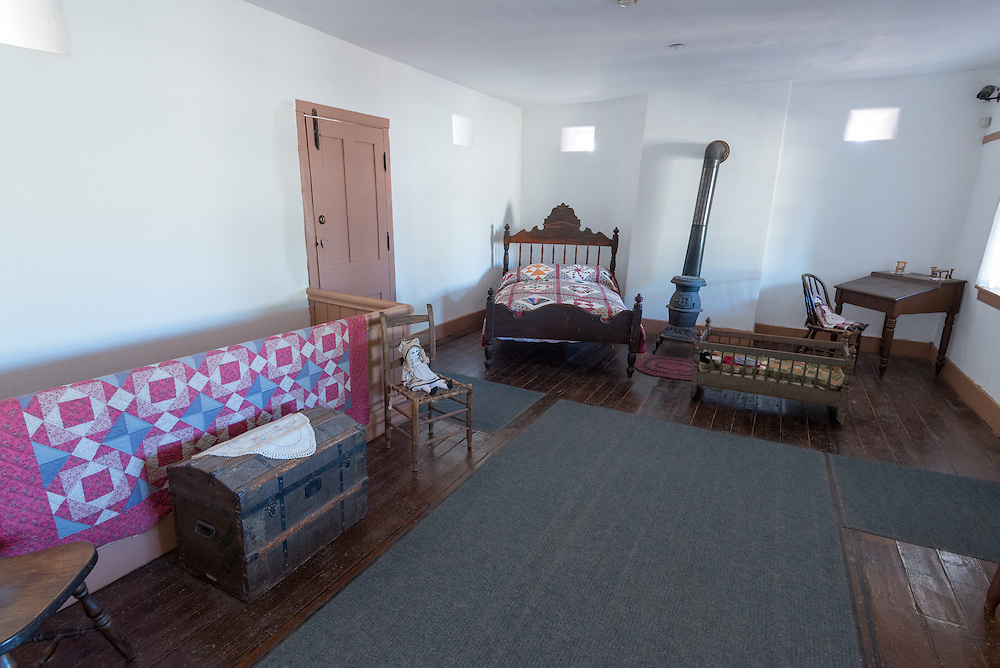 Bedroom in Winsor Castle, a historical house at Pipe Springs National Monument, Arizona.