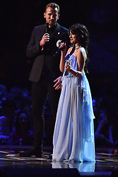 EDITORIAL USE ONLY.<br /><br />Harry Kane and Camila Cabello on stage at the Brit Awards at the O2 Arena, London.