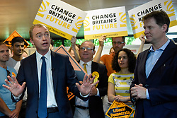 © Licensed to London News Pictures. 01/06/2017. London, UK.   Liberal Democrat Leader Tim Farron and LibDem Brexit Spokesman Nick Clegg during a visit to Shiraz Mirza Community Centre in Norbiton to meet local voters.  Photo credit : Stephen Chung/LNP
