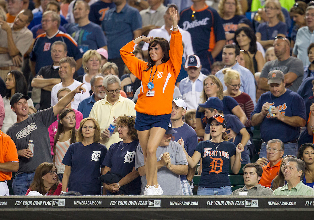 August 22, 2012:  Detroit Tigers Energy, DTE, squad member Chelsea Estes performs during seventh inning stretch of MLB game action between the Toronto Blue Jays and the Detroit Tigers at Comerica Park in Detroit, Michigan.  The Tigers defeated the Blue Jays 3-2.