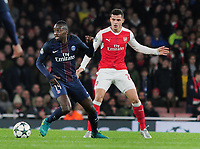 Football - 2016 / 2017 UEFA Champions League - Group A: Arsenal vs. Paris Saint-Germain<br /> <br /> Blaise Matuidi of PSG  and Granit Xhaka of Arsenal at The Emirates.<br /> <br /> COLORSPORT/ANDREW COWIE