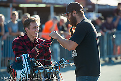 Chris Theis' MC'ing his Street Cowboys stunt show at Hal's Harley-Davidson during the Milwaukee Rally. Milwaukee, WI, USA. Friday, September 2, 2016. Photography ©2016 Michael Lichter.
