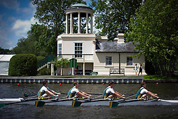 © London News Pictures. 29/06/2012.  Henley-on-Thames, UK.  A rowing team on the water during a race on day 3 of Henley Royal Regatta on the River Thames in Henley on Thames, Oxfordshire on June 29, 2012. Photo credit: Ben Cawthra/LNP
