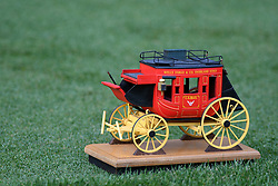 May 2, 2019 - Charlotte, NC, U.S. - CHARLOTTE, NC - MAY 02: A miniature Wells Fargo stage coach marks the16th tee during round one of the Wells Fargo Championship on March 02, 2019 at Quail Hollow Club in Charlotte,NC. (Photo by Dannie Walls/Icon Sportswire) (Credit Image: © Dannie Walls/Icon SMI via ZUMA Press)