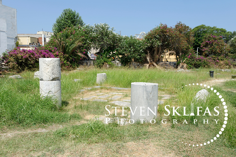 Kos Town. Ruins from the Agora in the eastern Archeological zone. The Agora was one of the largest in the ancient world. Kos is part of the Dodecanese island group and birthplace of the ancient physician and father of medicine, Hippocrates.