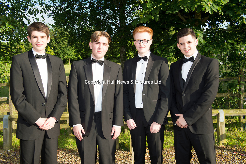 20 June 2019: Cleethorpes Academy Year 11 Prom at Brackenborough Hotel near Louth.<br /> (l-r) Tommy Jarman-Holmes,Alfie McRae, Jake Harrison and Declan Grace. <br /> Picture: Sean Spencer/Hull News & Pictures Ltd<br /> 01482 210267/07976 433960<br /> www.hullnews.co.uk         sean@hullnews.co.uk