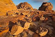 Colored sandstone boulders at sunset in Wadi Rum, Jordan.
