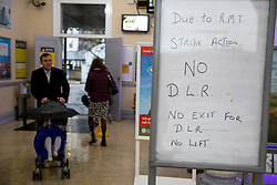 © Licensed to London News Pictures. 28/03/2018. London, UK. Commuter's journeys are disrupted this morning due to a 48-hour strike organised by RMT Union on the Docklands Light Railway (DLR). Services will resume on Good Friday. Photo credit : Tom Nicholson/LNP