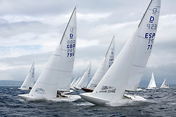 International Dragon Class Edinburgh Cup 2015.<br /> <br /> The first days racing in a strong southerly.<br /> <br /> Startline with GBR795, EXCITE, Tom Vernon,  GBR789, BEAR, Martin Payne, Salcombe YC<br /> <br /> <br /> Credit Marc Turner