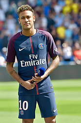 August 6, 2017 - Paris, France - Paris Saint-Germain's Brazilian forward Neymar waves to the crowd during his presentation to the fans at the Parc des Princes stadium in Paris on August 5, 2017. Brazilian superstar Neymar received a hero's welcome from Paris Saint-Germain fans at their Parc des Princes home on Saturday as he vowed to win ''lots of trophies'' following his world record transfer. The 25-year-old was presented to fans on the pitch ahead of their opening Ligue 1 match of the season at home to Amiens, telling fans: ''Thank you! I'm very happy, I'm delighted to be here for this new challenge.'' # PRESENTATION DU JOUEUR NEYMAR AU PARC DES PRINCES (Credit Image: © Visual via ZUMA Press)