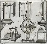 Studies of Inertia. 1: Newton's percussion pendulum.  2: Nollet's percussion hammer and falling frame. 5: Mariotte's percussion pendulum. Engraving 1775.