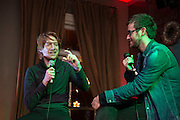 NO FEE PICTURES <br /> 30/12/14 Domhnall Gleeson with Nial Conlan, Delorentos at the NYF Spoken Word Festival at the Odessa Club in Dublin. Picture:Arthur Carron