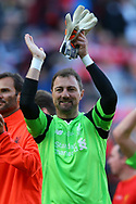 Jerzy Dudek of Liverpool legends team shows his appreciation to the fans at the end of the game. Liverpool Legends  v Real Madrid Legends, Charity match for the LFC Foundation at the Anfield stadium in Liverpool, Merseyside on Saturday 25th March 2017.<br /> pic by Chris Stading, Andrew Orchard sports photography.