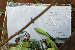 © Licensed to London News Pictures . 16/02/2014 . Oldham , UK . A card left by Leon's older sister . Flowers and tributes left behind terraces parallel to Ripponden Road after the body of fifteen year old Leon Cudworth was discovered in the early hours of 15th Februrary 2014 . Photo credit : Joel Goodman/LNP