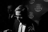 """ROME, ITALY - 25 FEBRUARY 2013: Press room of the People of Freedom in Rome, on February 25, 2013.<br /> <br /> A general election to determine the 630 members of the Chamber of Deputies and the 315 elective members of the Senate, the two houses of the Italian parliament, will take place on 24–25 February 2013. The main candidates running for Prime Minister are Pierluigi Bersani (leader of the centre-left coalition """"Italy. Common Good""""), former PM Mario Monti (leader of the centrist coalition """"With Monti for Italy"""") and former PM Silvio Berlusconi (leader of the centre-right coalition).<br /> <br /> ###<br /> <br /> ROMA, ITALIA - 25 FEBBRAIO 2013: Sala stampa del Popolo della Libertà a Roma, il 25 febbraio 2013.<br /> <br /> Le elezioni politiche italiane del 2013 per il rinnovo dei due rami del Parlamento italiano – la Camera dei deputati e il Senato della Repubblica – si terranno domenica 24 e lunedì 25 febbraio 2013 a seguito dello scioglimento anticipato delle Camere avvenuto il 22 dicembre 2012, quattro mesi prima della conclusione naturale della XVI Legislatura. I principali candidate per la Presidenza del Consiglio sono Pierluigi Bersani (leader della coalizione di centro-sinistra """"Italia. Bene Comune""""), il premier uscente Mario Monti (leader della coalizione di centro """"Con Monti per l'Italia"""") e l'ex-premier Silvio Berlusconi (leader della coalizione di centro-destra)."""