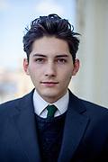 Franz Kafka lookalike Marek Lentvorsky (21) portrayed on a balcony of the Goethe Institut.