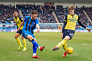 Gillingham FC defender Luke O'Neill (2) and Scunthorpe United defender Tom Pearce  (16) during the EFL Sky Bet League 1 match between Gillingham and Scunthorpe United at the MEMS Priestfield Stadium, Gillingham, England on 16 February 2019.