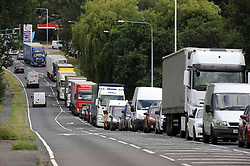© Licensed to London News Pictures. 30/07/2015 <br /> Traffic on A20  Maidstone Road,Ashford,Kent<br /> The A20 Between Ashford and Leeds in Kent  is now a rat run for lorries and cars because of Operation Stack has closed M20 London bound.<br /> <br /> Traffic misery continues on the M20 with Operation Stack and will most likely remain in place into the weekend.<br /> A 23-mile stretch of the coast-bound carriageway is shut with part of the London-bound side also closed.<br /> <br /> <br /> (Byline:Grant Falvey/LNP)