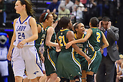 April 4, 2016; Indianapolis, Ind.; The UAA women's basketball team celebrates after forcing a turnover in the NCAA Division II Women's Basketball National Championship game at Bankers Life Fieldhouse between UAA and Lubbock Christian. The Seawolves lost to the Lady Chaps 78-73.